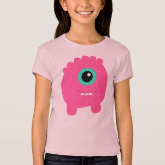 Camiseta O divertimento & o monstro cor-de-rosa bonito da