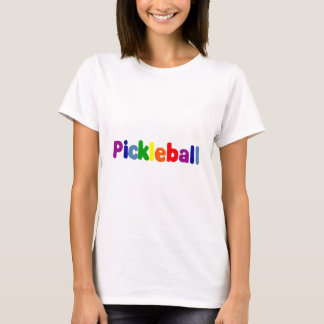 Camiseta O divertimento Pickleball colorido rotula a arte