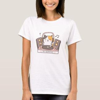 Camiseta O DJ bonito risca o T do humor da chalaça do gato