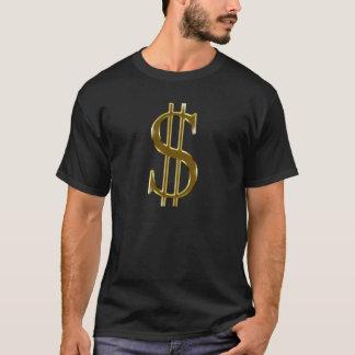 Camiseta o dólar de $ assina dentro o ouro