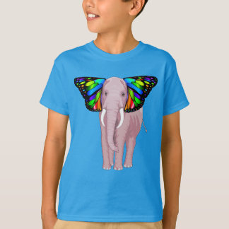 Camiseta O elefante cor-de-rosa psicadélico com orelhas da