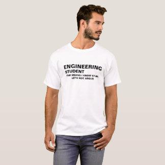 Camiseta O estudante da engenharia sabe o material -