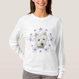 Camiseta O floco bonito da arte e da neve do cão de Westie
