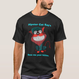 Camiseta O gato do hipster diz