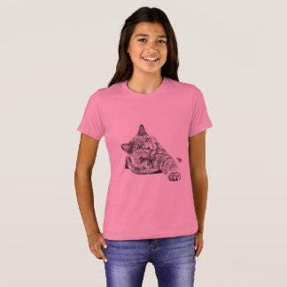 Camiseta O gato em um rosa caçoa o t-shirt