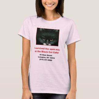 Camiseta O gato preto Mic aberto das senhoras