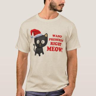 Camiseta O gato quer o Meow direito dos presentes de Natal