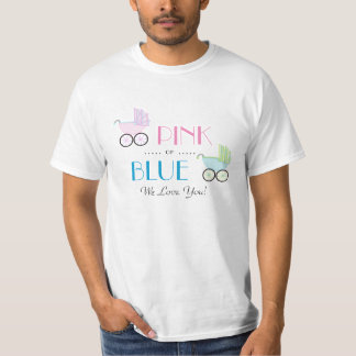 Camiseta O género da carruagem de bebê cor-de-rosa ou azul