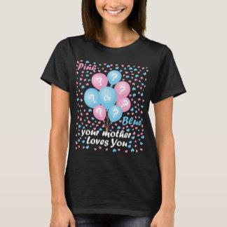 Camiseta O género revela o amor cor-de-rosa ou azul do