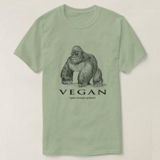 Camiseta O gorila do Vegan obtem bastante proteína