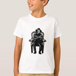 Camiseta O homem amordaçou acorrentado ao Woodcut grande da