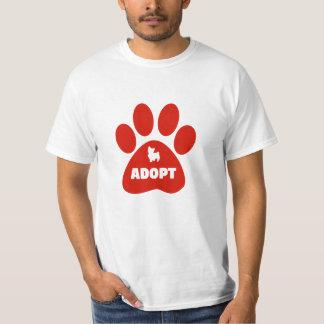 Camiseta O impressão vermelho da pata adota o t-shirt