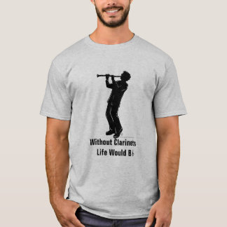 Camiseta O jogador Silhoutte do clarinete, vida bflat