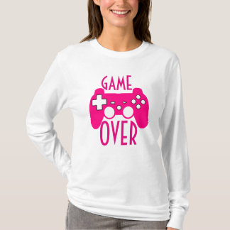 Camiseta O jogo branco & cor-de-rosa da mulher sobre a luva
