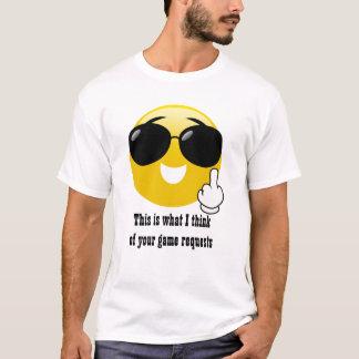 Camiseta O jogo do dedo médio pede o t-shirt de Emoji