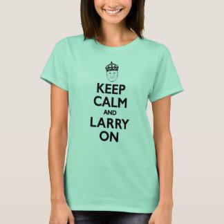 "Camiseta O Larry Miller das senhoras ""mantenha a calma e o"