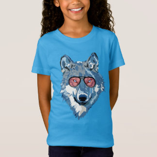 Camiseta O lobo azul psicadélico com óculos de sol