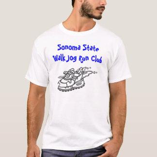 Camiseta o logotipo running 3, movimento da caminhada do