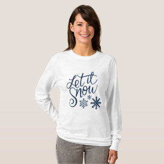 Camiseta O longos das mulheres sleeved deixaram-no nevar