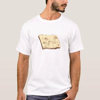 Camiseta O mapa da fuga com X marca o Woodcut do ponto