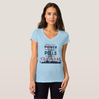 Camiseta O março Las Vegas das mulheres - T do V-Pescoço
