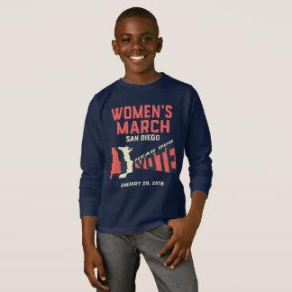 Camiseta O março San Diego das mulheres caçoa a luva longa