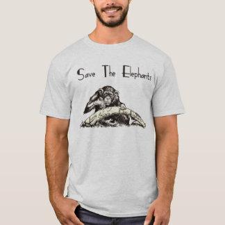 Camiseta O marfim é para elefantes - proiba o comércio do