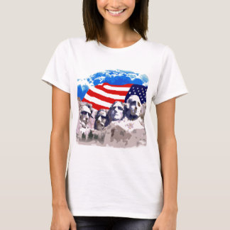 Camiseta O Monte Rushmore com bandeira americana