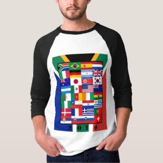 Camiseta O mundo embandeira o t-shirt 2010 da luva de