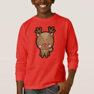 Camiseta O Natal cheirado vermelho bonito da rena caçoa a