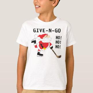Camiseta O Natal de patinagem do papai noel do hóquei dá N