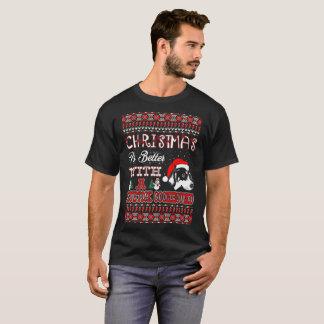 Camiseta O Natal é melhor com um Coonhound de Bluetick feio