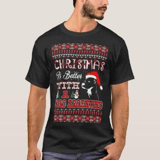 Camiseta O Natal é melhor com um T feio de Dogo Argentino