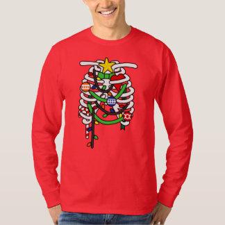 Camiseta O Natal marca o esqueleto do raio X engraçado