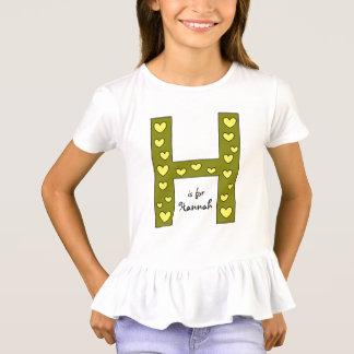 Camiseta O nome da letra H design grande da menina