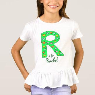 Camiseta O nome da letra R design verde grande da menina