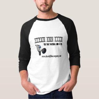Camiseta O olhar natural & sente 3/4 de t-shirt da luva do