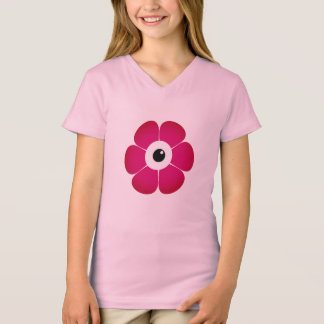 Camiseta o olho da flor cor-de-rosa