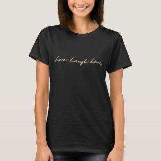 Camiseta O ouro rotulado mão do falso frente e verso vive