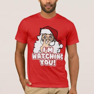 Camiseta O papai noel está olhando o Natal engraçado