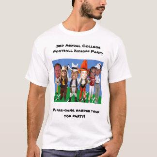 Camiseta ó Partido anual do Kickoff do futebol da faculdade