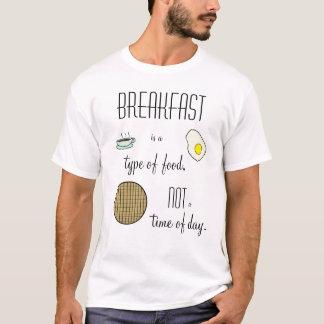 Camiseta O pequeno almoço é um tipo de comida, não uma hora