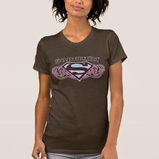 Camiseta O Pin de Supergirl descasca o preto e o rosa