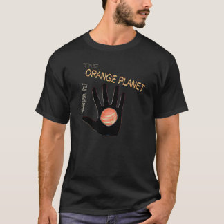 Camiseta o planeta alaranjado diz olá!