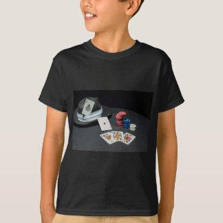 Camiseta O póquer carda o chapéu do gângster