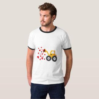 Camiseta O presente dos corações do trator do dia dos