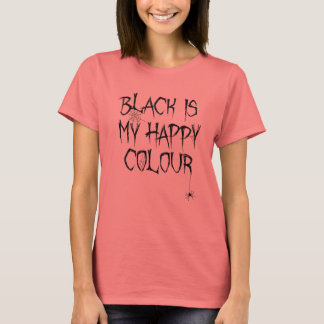 Camiseta O preto é meu t-shirt feliz do Dia das Bruxas da
