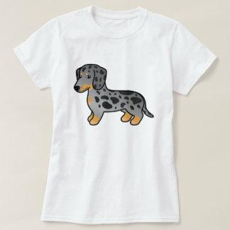 Camiseta O preto e Tan Dapple o cão liso do Dachshund do