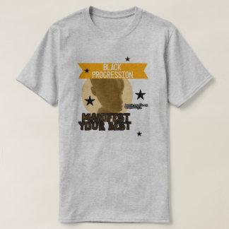 Camiseta O preto/ouro manifesta seu melhor T
