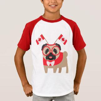 Camiseta O Pug de Canadá com o Headband da bandeira de